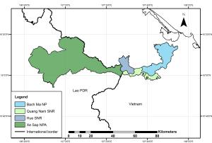 Xe Sap NPA relative to adjacent Vietnamese protected areas