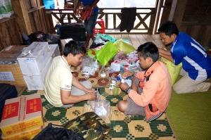 The team preparing supplies